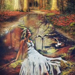 freetoedit doubleexposure forest forestgirl