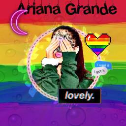 freetoedit arianagrande rainbowbackground moon rainbowheart