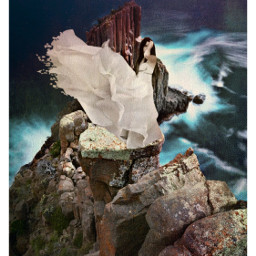 freetoedit cliffside rocks water womaninwhite