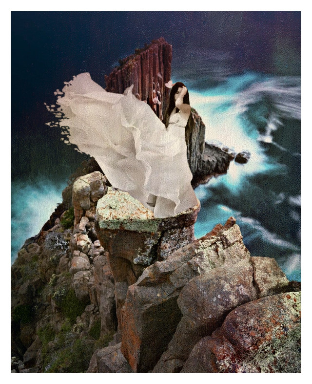 #freetoedit #cliffside #rocks #water #womaninwhite #papereffect
