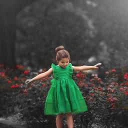 freetoedit girl green colorsplash picsart