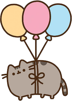 pusheen ballons cute pink blue freetoedit