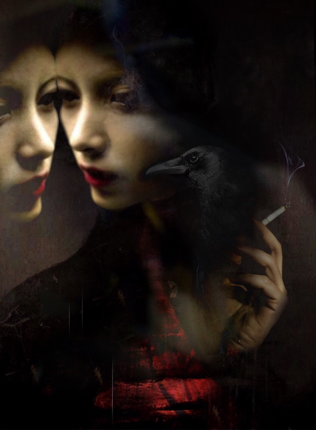 """Longing""  #reflecting #whatif #longing #emotions #dark #interesting #woman #reflection #raven #symbolism #manylayers #doubleexposure #hand #red #myedit     #freetoedit"