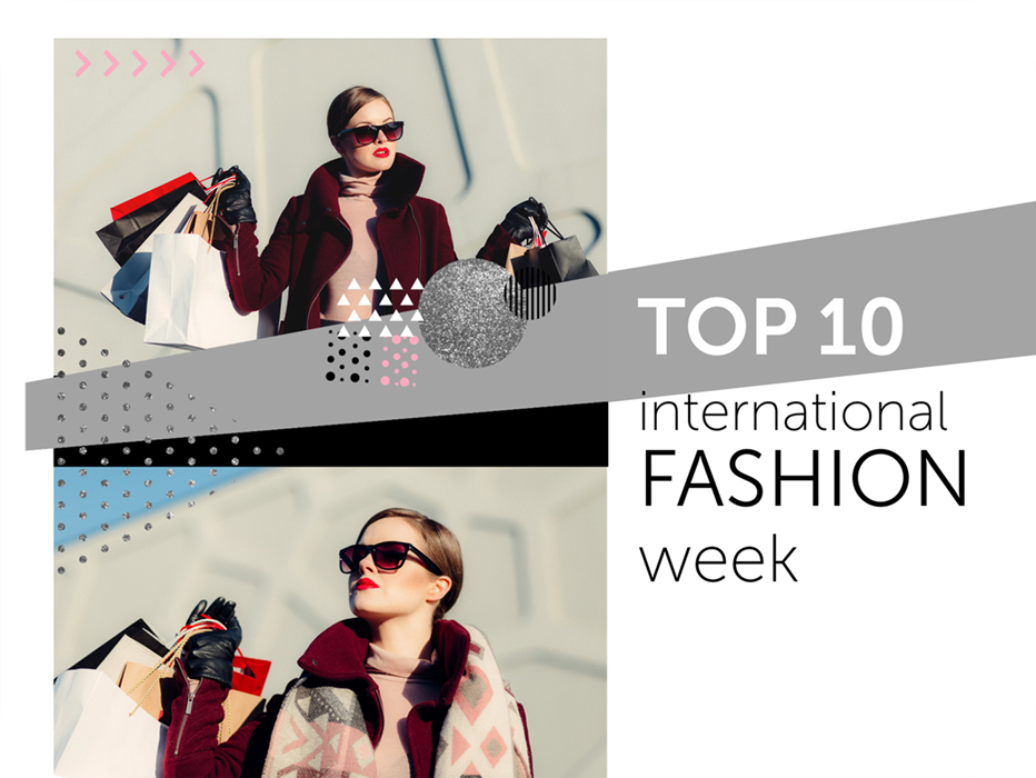 top 10 international fashion week collage template with a shopping girl on it