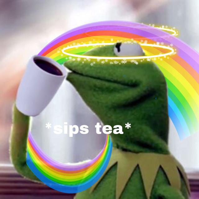 Even kermit likes tea ❤️🐸#freetoedit #kermit #rainbow #rainbowbackground #sparkle #halo #angel #puppet #frog #tea #drinkingtea #folow4folow #follow4followback #like4likes #like4like #trend #trending #cool