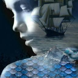 freetoedit doubleexposure scales mermaid ship ircmermay