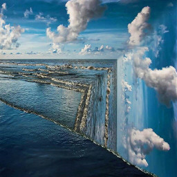ocean waves sky edgeoftheworld surreal freetoedit