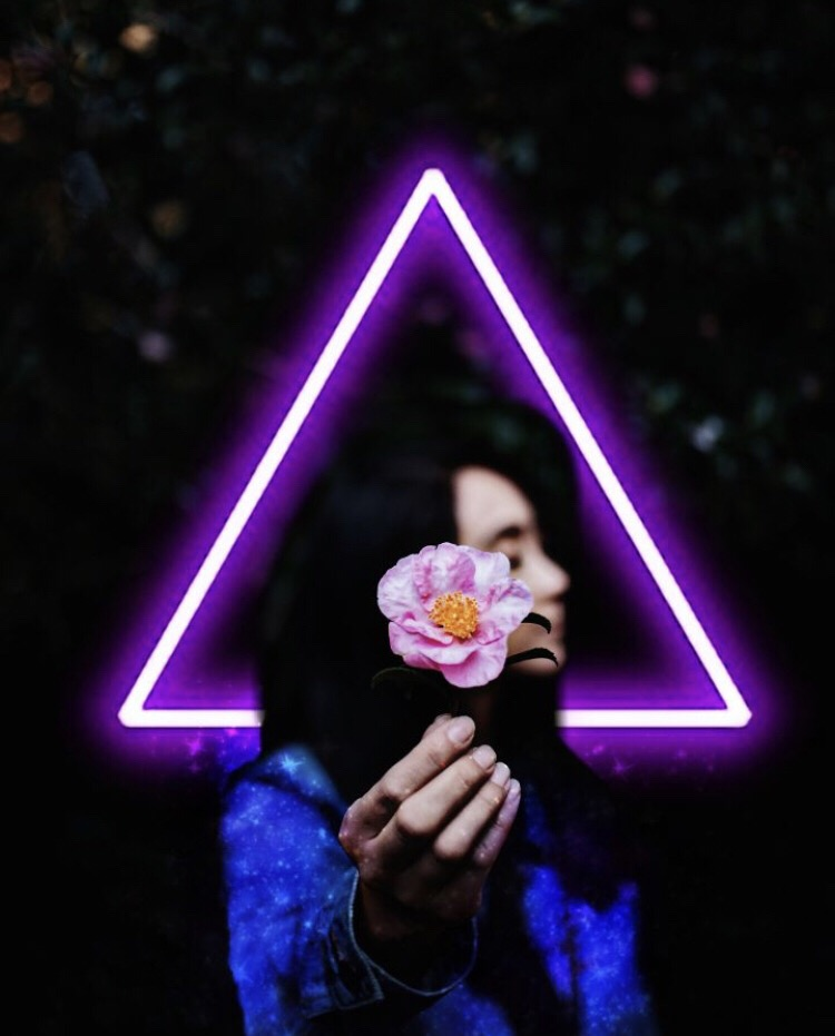 Roses are red, violets are blue, neon is our favorite color, how about you? 😜🌹💜Credits to @sanpal #neon #rose #neontriangle #freetoedit