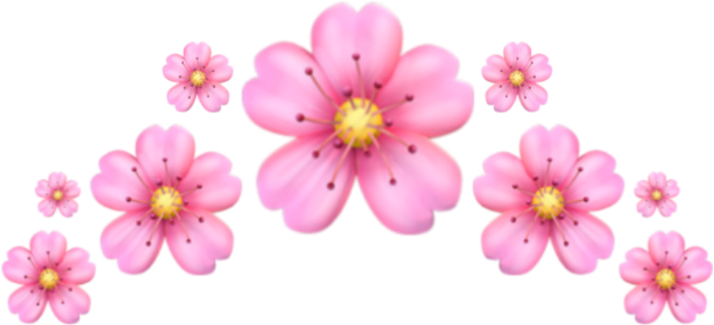 Emoji Crown Pink Flower Corona Emoji Flor Rosa Backgrou