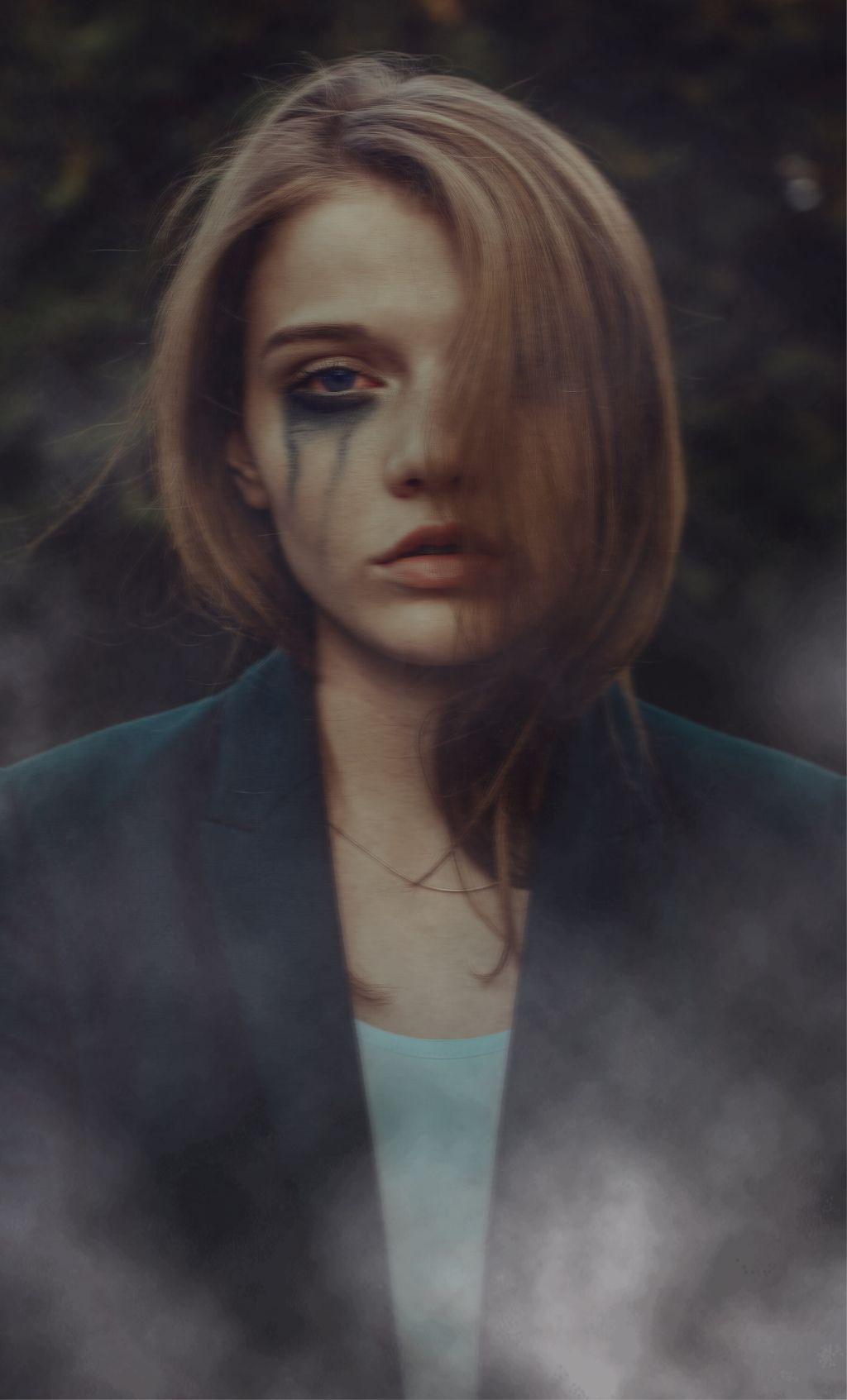 Freetoedit Sadness Interesting Art Sad Woman Blue Fog