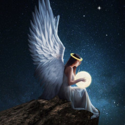 halo angel wings galaxy freetoedit