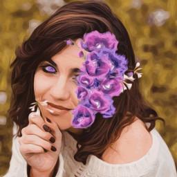 girl flower flowehead blue green ecflowerhead