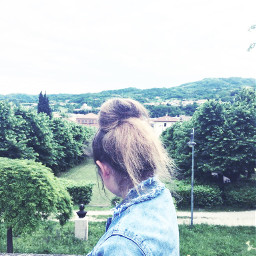 freetoedit lookingdown hair jeansjacket green