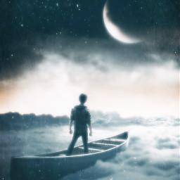 freetoedit moon sky blue boy boat clouds fantasy bright dreamy dreams poem poetry prose twosentencespoetry 1994effect blh2effect smartblureffect