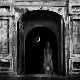 blackandwhite moon darkside darkart darkness