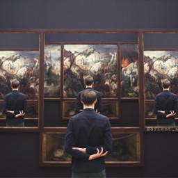 freetoedit surreal man museum watching