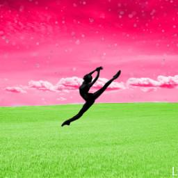 freetoedit girl gymnastics pink green