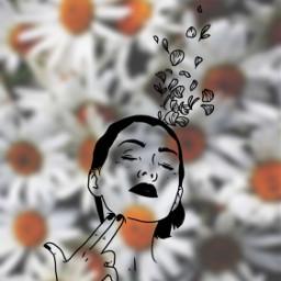 freetoedit gun flowers illustration girly
