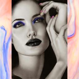 freetoedit makeup blacklipstick woman beautiful