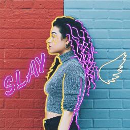 freetoedit neon outline angel slay