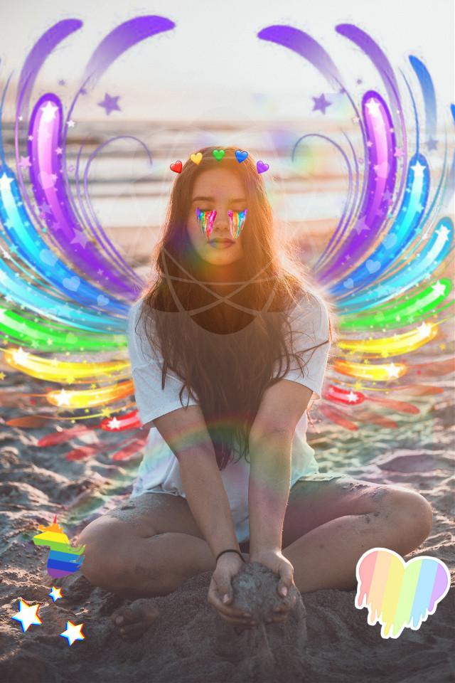 #freetoedit #rainbow #rainbowmakeup #rainbowhearts