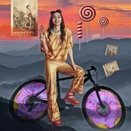freetoedit donuts bicycle carefree girl