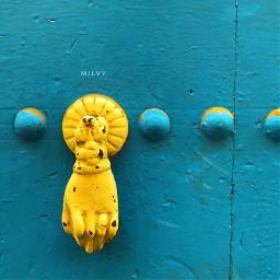 marrakech morocco door doorknocker blue