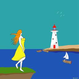 girl girlinyellow yellowdress cliff lighthouse freetoedit