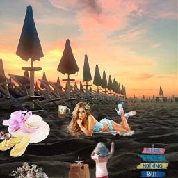 freetoedit remix beachscene shells sunset