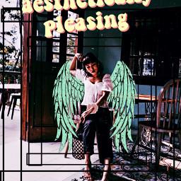 freetoedit girl wings greenwings aestheticallypleasing scrunchie