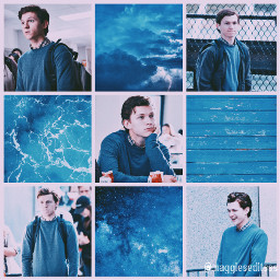 tomholland blueaesthetic blue peterparker spiderman freetoedit