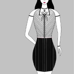 blackandwhite mydrawing cute fashionista dress freetoedit