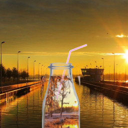 bottle nature straw landscape colored freetoedit