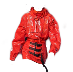 red plastic dress shiny jacket freetoedit