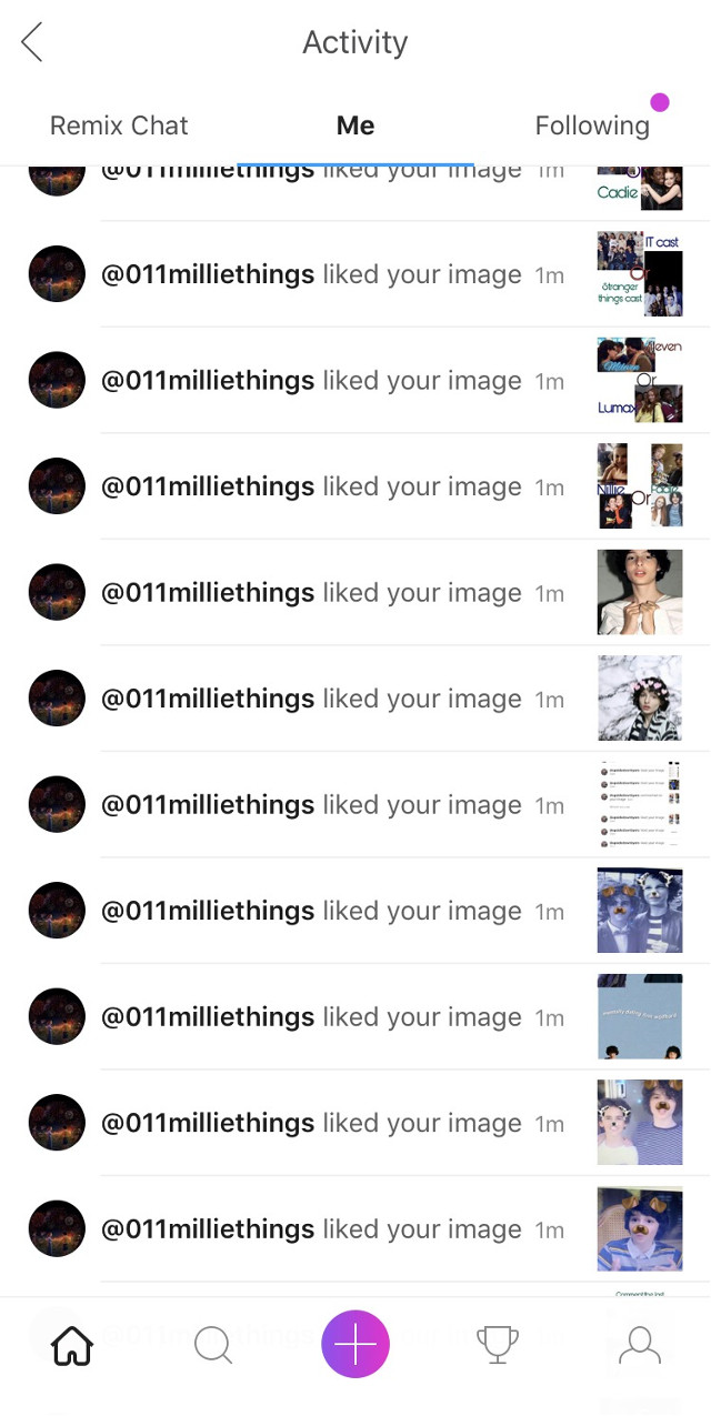Thank u @011milliethings for the like spam