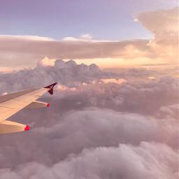 freetoedit sky pink airplane cloud
