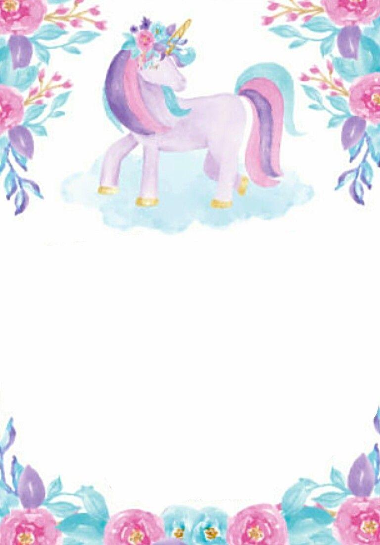Card Invitation Birthday Girl Pony Unicorn Flowers Wate