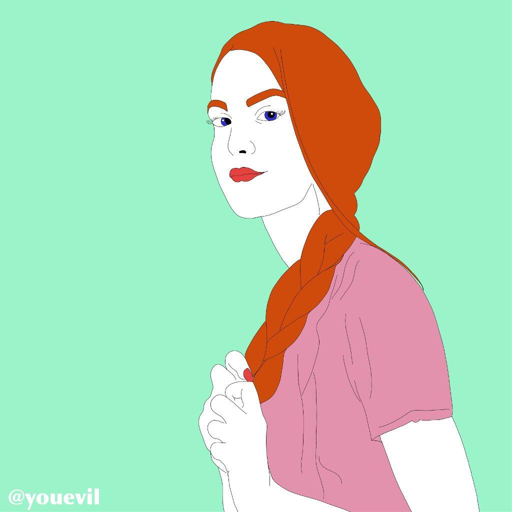 #freetoedit #girlinpink#redhair#clean#intenseblue#braids#longhair