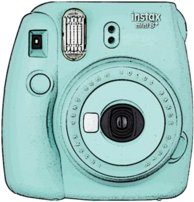 polaroid camera teal blue vsco aesthetic freetoedit
