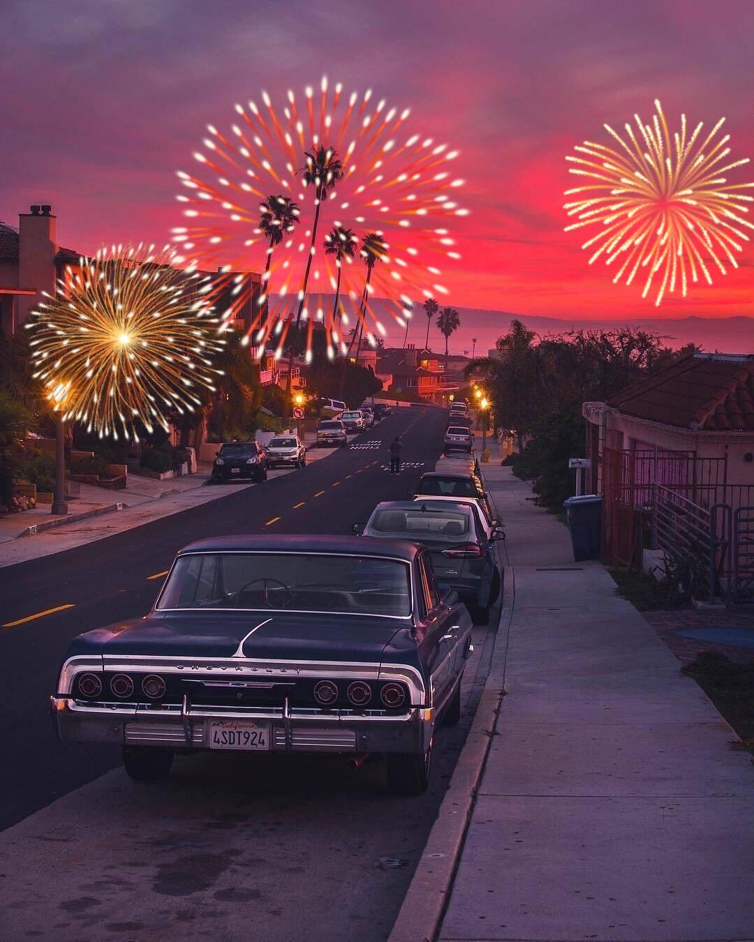 #freetoedit #4ofjuly #cars #evening #fireworks