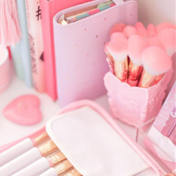 pastel makeupbrushes stationary book loveheart