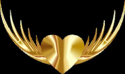 wings gold golden heart freedom freetoedit
