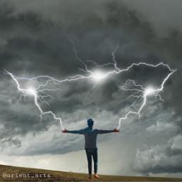 freetoedit man lightnings lightning clouds