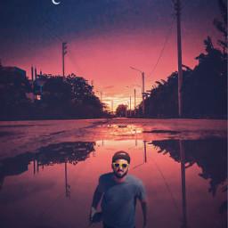 surreal street man puddle moon freetoedit