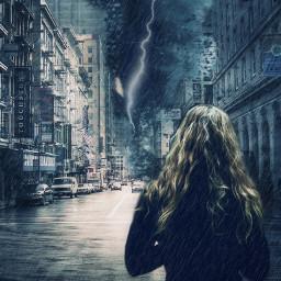 watching menace storm woman rain