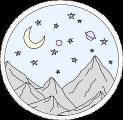 vsco aesthetic mountain stars moon freetoedit