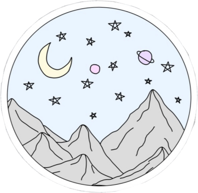 #vsco #aesthetic #mountain #stars #moon #planets #circle #blue #freetoedit