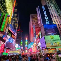 newyork timessquare crowds neonlights night