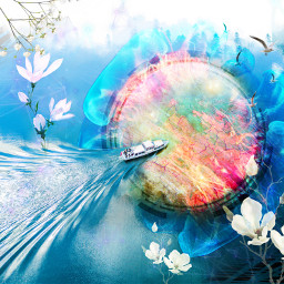 ircwatermirror watermirror freetoedit moon flower