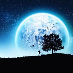 mask silhouette moon kite freedom freetoedit